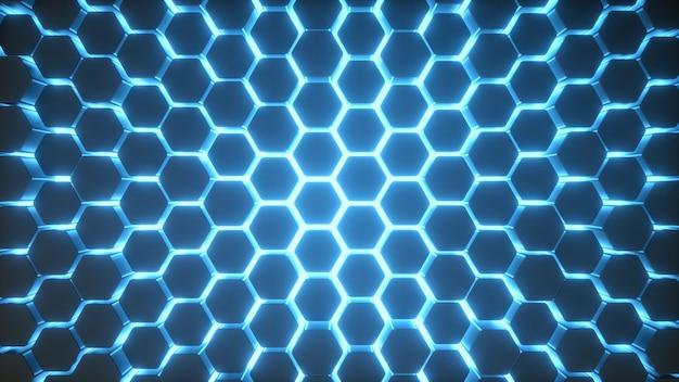 Luz de néon azul do fundo do hexágono