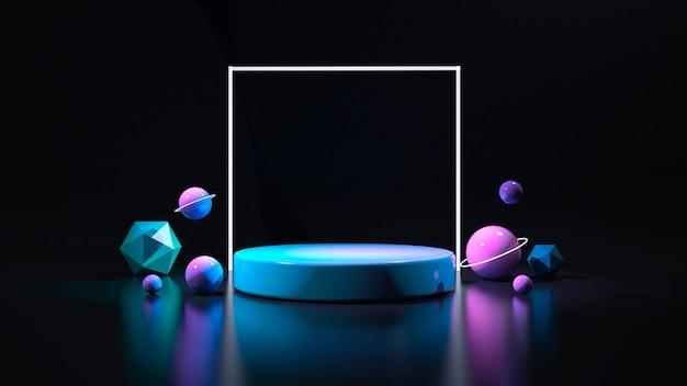 Luz de neon do palco do círculo. abstrato futurista