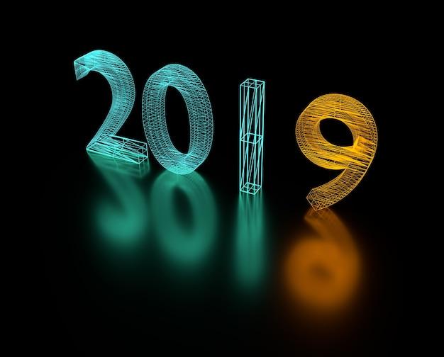 Luz de néon do wireframe do ano novo da ilustração 3d 2019.