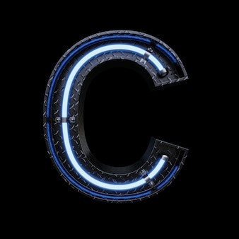 Luz de neon letra c com luzes de neon azuis.