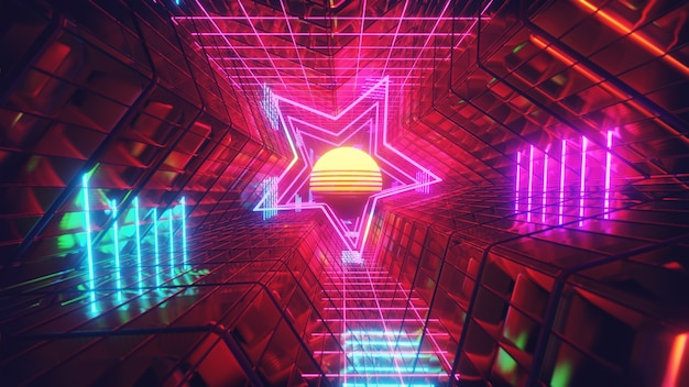 Luz de néon retrô em estrela fundo para publicidade e papel de parede em festival e cena de celebração