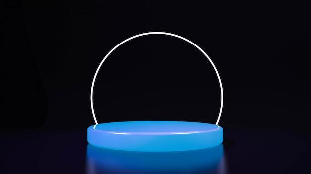 Luz de néon roxa de palco círculo. abstrato futurista