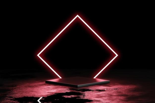 Luz de néon vermelha com fundo preto