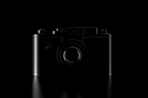 Luz e sombra da câmera vintage na escuridão