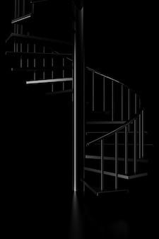 Luz e sombra da escada em espiral