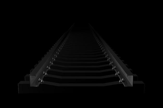 Luz e sombra da ferrovia na escuridão. renderização em 3d.
