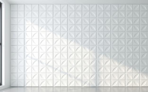 Luz e sombra da moldura da janela com painel de parede 3d. renderização 3d