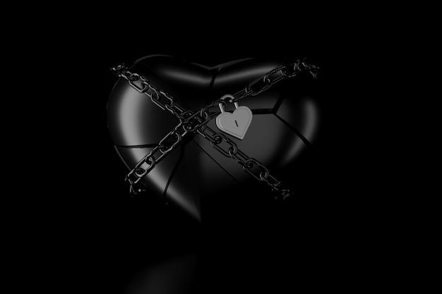 Luz e sombra de coração partido na escuridão. renderização em 3d.