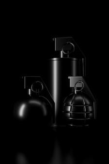 Luz e sombra de granada na escuridão. renderização em 3d.