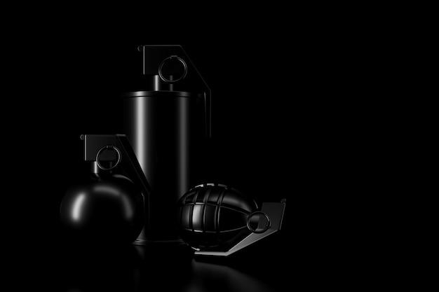 Luz e sombra de granada na escuridão
