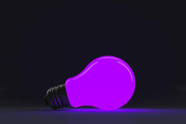 Luz fluorescente uv roxa em fundo escuro