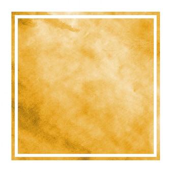Luz laranja mão desenhada aquarela moldura retangular textura de fundo com manchas