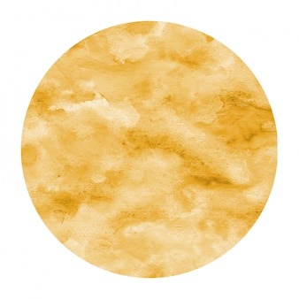 Luz laranja mão desenhada textura de quadro circular aquarela com manchas