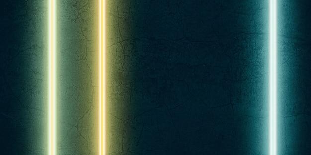 Luz laser multicolorida brilhando em um fundo de pedra preta ilustração 3d