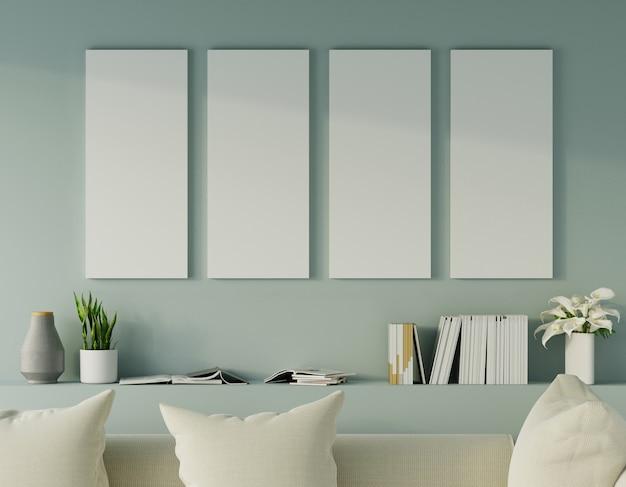 Luz moderna - sala verde com sofá e mobília e grupo de moldura na parede. 3d rendem.