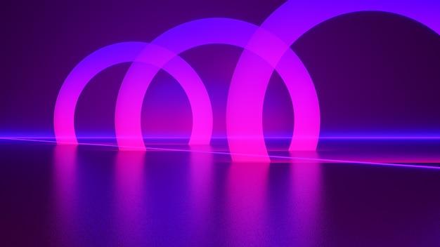 Luz neon, fundo futurista abstrato, conceito ultravioleta, renderização 3d