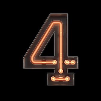 Luz néon, número, 4