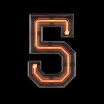 Luz néon, número, 5