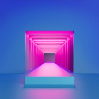 Luz neon rosa dentro do túnel quadrado com portal dentro da sala moderna e minimalista