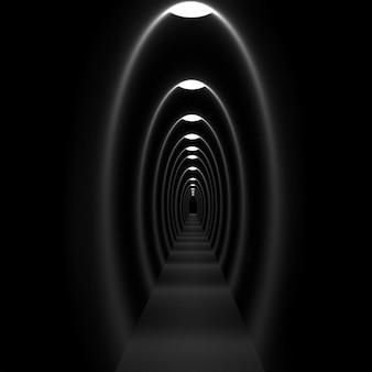 Luz no túnel, renderização em 3d