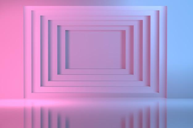 Luz - túnel quadrado geométrico azul e cor-de-rosa na parede. imagem abstrata para apresentação com espaço em branco de cópia no centro.