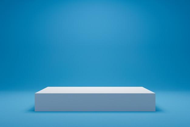 Luz vazia - fundo azul e exposição ou prateleira do suporte. render 3d realista.