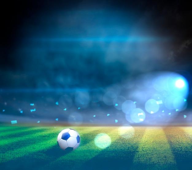Luzes à noite e estádio 3d