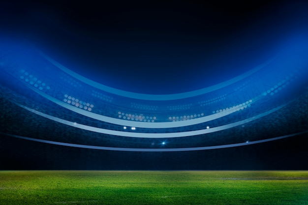 Luzes à noite e renderização 3d do estádio