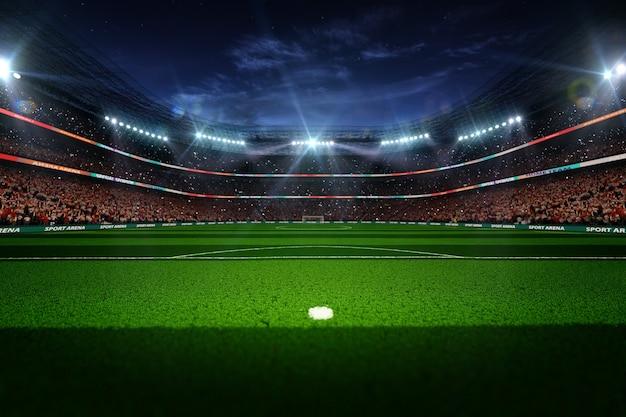 Luzes à noite e renderização em 3d do estádio de futebol