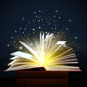 Luzes amarelas e brilhos saindo de um livro aberto