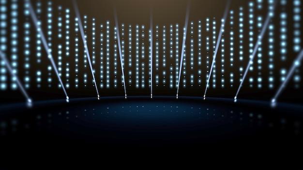Luzes azuis e palco, fundo abstrato. estilo dinâmico elegante e luxuoso para ilustração 3d de prêmios