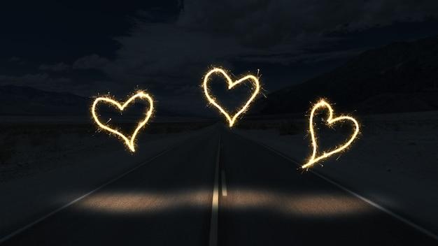 Luzes brancas formando corações no escuro