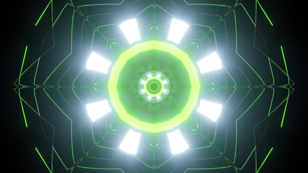 Luzes brilhantes e linhas finas de néon verde, criando um ornamento circular de um túnel futurista com estrutura geométrica como um fundo abstrato de ficção científica na ilustração 3d