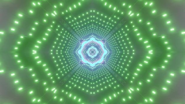 Luzes brilhantes verdes de néon do corredor abstrato futurista com ilustração 3d do elemento azul