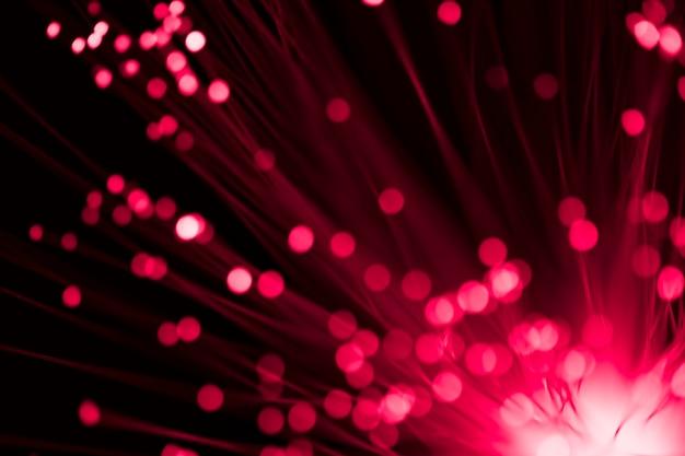 Luzes de fibra óptica focadas e desfocadas