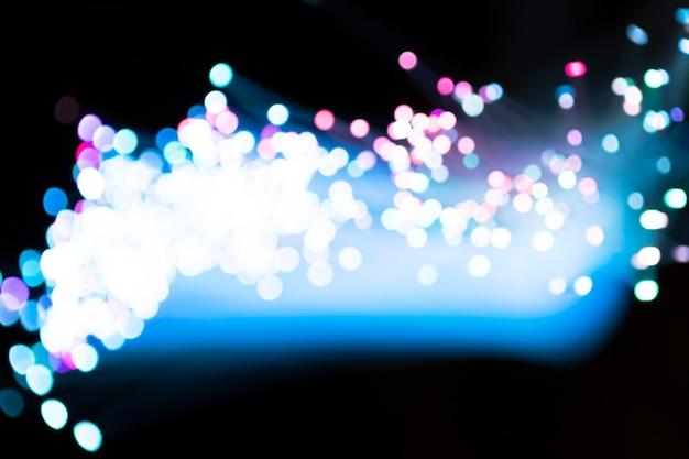 Luzes de fibra óptica turva azul