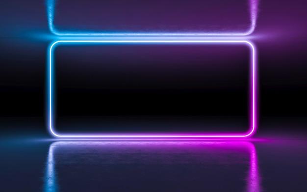 Luzes de incandescência de néon roxas e azuis abstratas do fundo na sala escura vazia com reflexão.