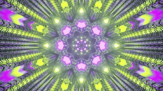 Luzes de néon brilhantes dentro do túnel 4k uhd ilustração 3d