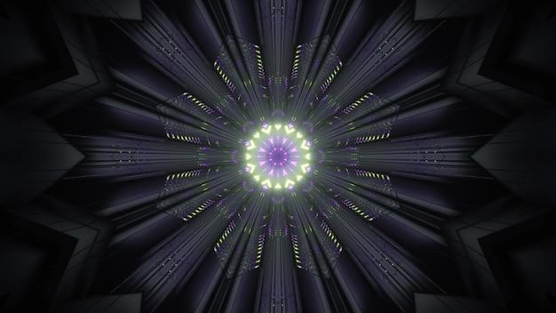 Luzes de néon brilhantes na escuridão ilustração 3d 4k uhd