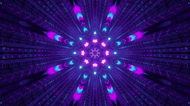 Luzes de néon coloridas no túnel escuro ilustração 3d 4k uhd