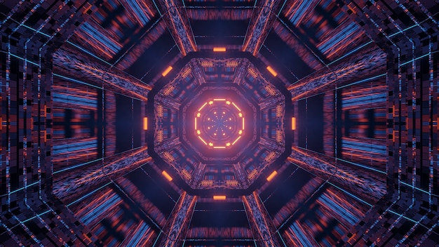 Luzes de néon do corredor do túnel futurista