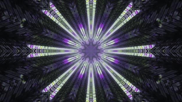 Luzes de néon iluminando o túnel de vidro ilustração 3d 4k uhd