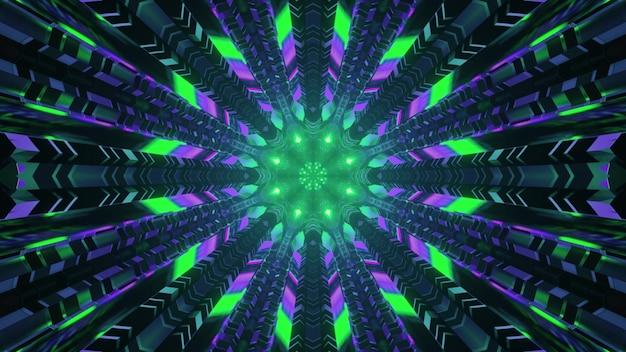 Luzes de néon no túnel de ficção científica 4k uhd ilustração 3d