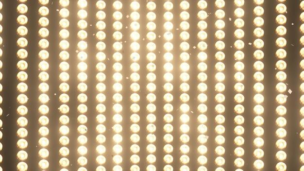 Luzes de parede grande e caindo confete dourado brilhante