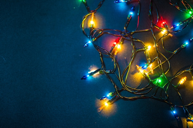 Luzes, decorando, natal, estação