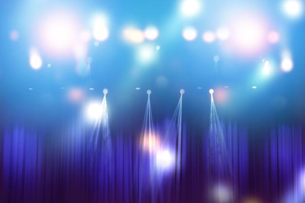 Luzes desfocadas no palco, imagem abstrata de iluminação de concerto