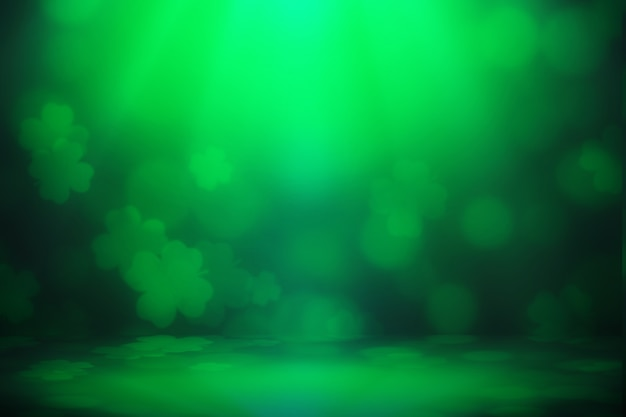 Luzes do bokeh da folha do trevo verde do fundo do dia de são patrício desfocadas para o fundo do projeto da celebração do dia de são patrício.