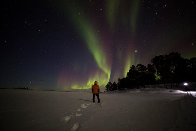 Luzes do norte no lago inari, lapônia, finlândia