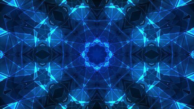 Luzes do palco e diferentes formas abstratas arte 3d ilustração