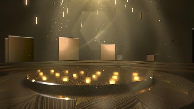 Luzes douradas e palco, fundo abstrato. estilo dinâmico elegante e luxuoso para ilustração 3d de prêmios